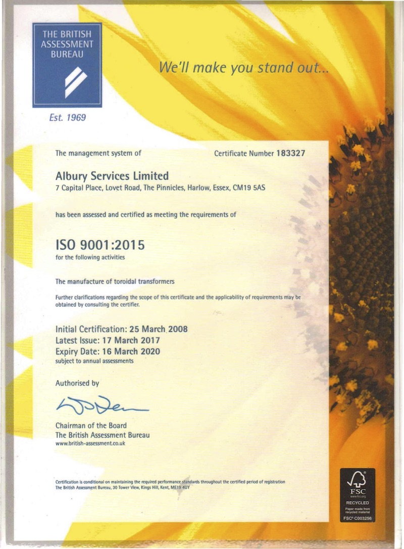 Airlink Transformers ISO 9001:2015 certificate